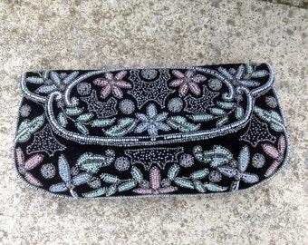 1960s Vintage Purse Evening Bag Black Velvet Blue Beads Hand Made France