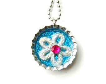 NEW Flower Glitter - Bottle Cap Necklace
