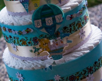 SPRING SALE, It's a Boy, Diaper Cake, 3 tier diaper cake for a boy, Baby Boy Diaper Cake, Boy Diaper Cake Gift