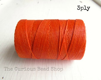 Orange Crush Irish waxed linen cord 3ply (10 yards) - irish waxed linen cord, orange irish waxed linen thread, uk irish linen cord
