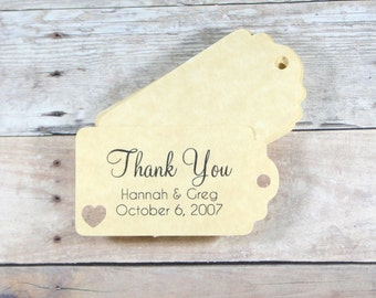 Small Antique Gold Wedding Favors Set of 20 - Personalized Bridal Shower Gift Tags - Gold Wedding Tags - Antique Gold Bridal Shower Tags