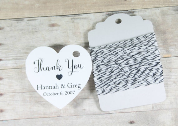 ... Shower Tags, Wedding Favor Tags, Personalized White Wedding Tag Heart