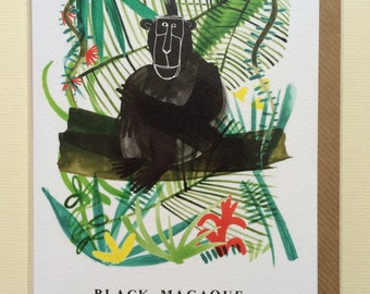 Black Macaque Nature Card // Blank