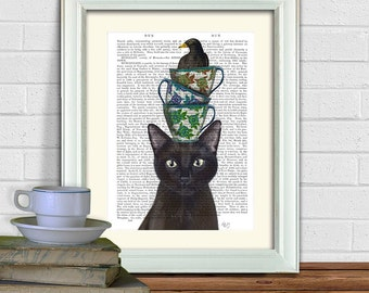 Black Cat Art print - Teacups and Blackbird tea lovers gift tea time tea party black cat print black cat gift for cat lover blackbird print