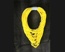 Yellow grey fabric necklace, fabric yarn scarf, necklace scarf, yellow necklace, yarn necklace, fabric accessories, fabric jewelry.