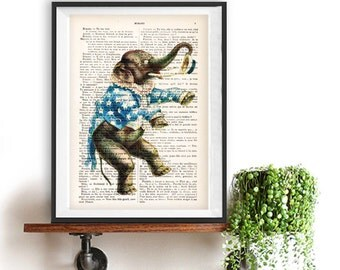 Circus Elephant Vintage Illustration on real French vintage paper from the 20's, Paris vintage Art, Elephant Drawing