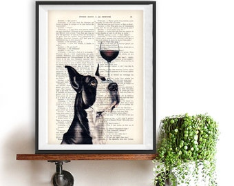 Great dane Print, great dane with wine glass, black and white, great dane hound, Art Print on recycled french book page