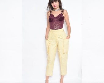 Vintage 80's Yellow High Waisted Pants / Large Outside Pockets Pants / Tapered Leg Yellow Pants - Size Extra Small