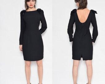 Vintage 80's Little Black Dress / Bow Midi Dress / Long Sleeve Black Dress / Backless Long Sleeve Dress