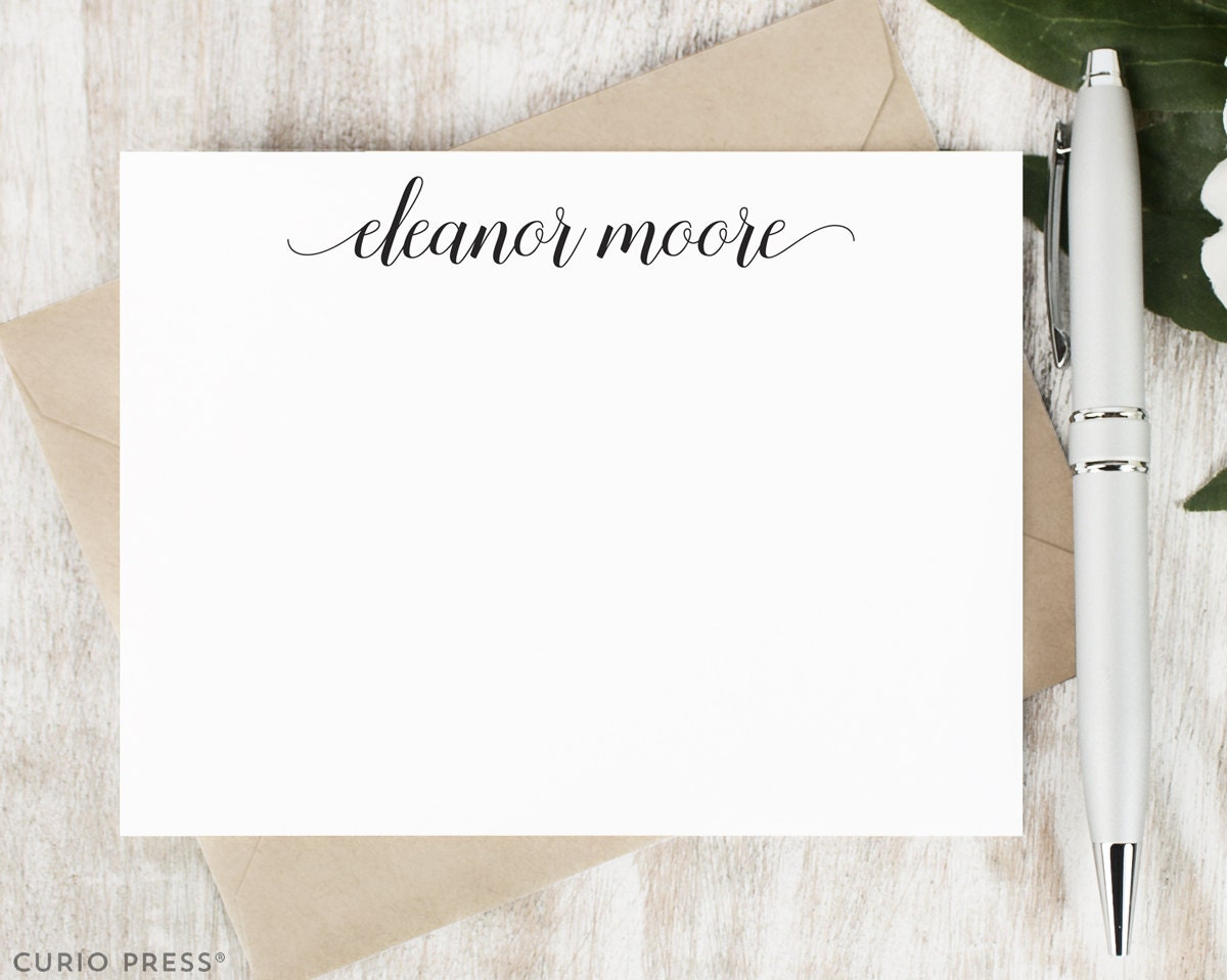 personalized note card set    script personalized stationary