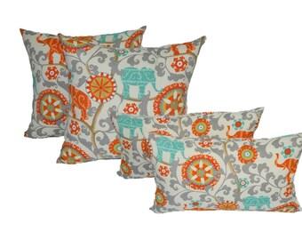 "Set of 4 - 17"" Square & Rectangle / Lumbar Orange, Teal / Turquoise, Gray Bohemian Elephant Indoor / Outdoor Decorative Throw Pillows"