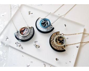 Segment Pendant Necklace: Laser Cut Engraved Circle Necklace. Mirror Acrylic, Marble Swirl. Black Gold Leaf Cream Silver Copper Bronze Blue.