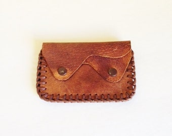 Vintage Hand Tooled Leather Coin Purse / Wallet / 1940