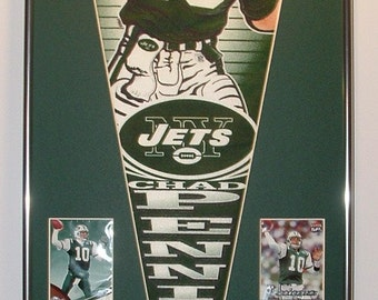 NY Jets Chad Pennington Pennant & Cards...Custom Framed!!