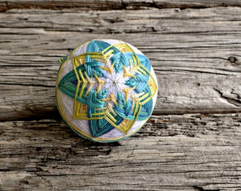 Japanese Temari Traditional Embroidered Thread Ball, Blue and Yellow Temari,  Embroidery Stitch Ball, Traditional Childs Toy, Marine Star