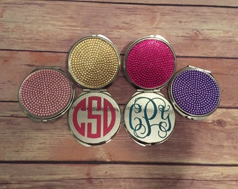 Monogrammed Compact Mirror, Gem Mirror, Personalized Mirror, Monogram Mirror, Makeup Mirror