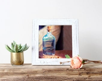 Surreal square print, fine art photography, summer in a bottle, sand, footprint, shells, beach, unique original eclectic home decor wall art