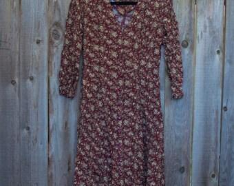 1990s Vintage Burgundy Floral Dress