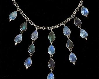 Moonstone Labradorite Necklace: CORDELIA