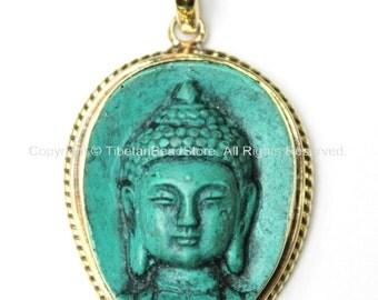 Green Buddha Tibetan Pendant - Nepal Tibetan Buddha Head Pendant - WM3136