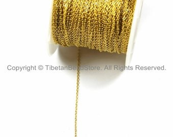 Gold Plated Link Chain 1.5mm x 1mm - 10 FEET- Chains & Findings Jewelry Chains Gold Fill Chains TibetanBeadStore Jewelry Supplies - CN37-10