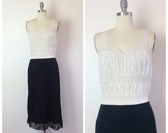 60s Two Tone Black and White Dress Slip - 1960s Vintage Floral Embroidered Lace Slip - Small - Size 4 - 6