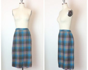 50s Deadstock Purple Grey & Blue Plaid Pencil Skirt / 1950s Vintage Dead Stock  Wool Wiggle Skirt / Medium / Size 8