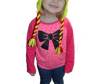 Crochet Softball Hat, Earflap Softball, Red and Yellow hat, Stitches, Toddler Softball Hat, Teen Girls Hat, Knit Softball Hat, Baby Girl Hat