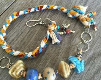 Blue Bunny Braided Necklace