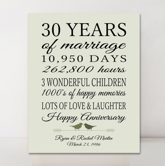 Wedding Anniversary Gifts 30 Years: 30th Anniversary Gift Personalized Gift 30 Years Married Gift