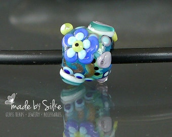 Handmade glass lampwork big hole bead BHB | fits also european charm necklaces or bracelets | made by Silke | OOAK | SRA