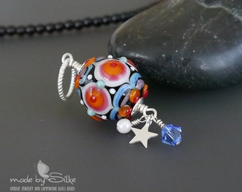 Lampwork bead pendant  |  Sterling Silver |  made by silke  |  artisan glass  |  SRA  |  OOAK  |  A Perfect Day