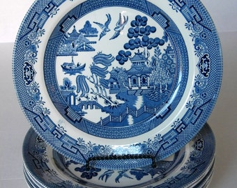Churchill Blue Willow Dinner Plate SIX Replacements