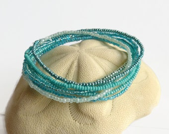 7 seed bead bracelets turquoise, friendship bracelets, stretch bracelets, aqua seed bead bracelets,