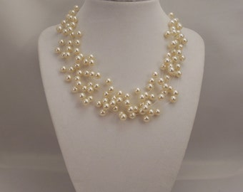 Very Elegant Wedding Bridal Multi Strand, Illusion Floating Necklace with 6mm Cream Glass Pearls