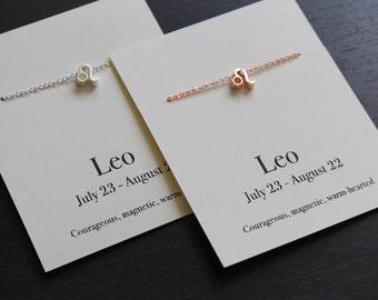 Collier du zodiaque, collier de Leo, cadeau Leo, cadeau d'anniversaire, cadeau d'anniversaire de juillet, collier anniversaire août, signe astrologique Lion, anniversaire Leo