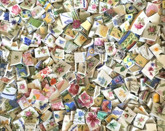 Four Pounds FLOWERS, PETALS & STEMS Blend Assortment Mix Tiles for Mosaic -  Broken China