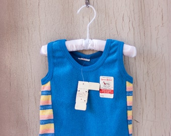 Vintage 70's Buster Brown Terry Cloth Gym Shirt / Deadstock Striped Tank Top /  6-9 Months Layette Baby