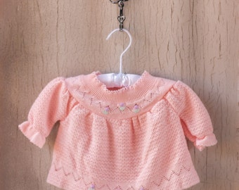 Vintage 70's Pink Pastel Pointelle Knit Sweater Embroidered Tulips Flower Print Jumper / Mock Neck 6-9 Months Baby Girl