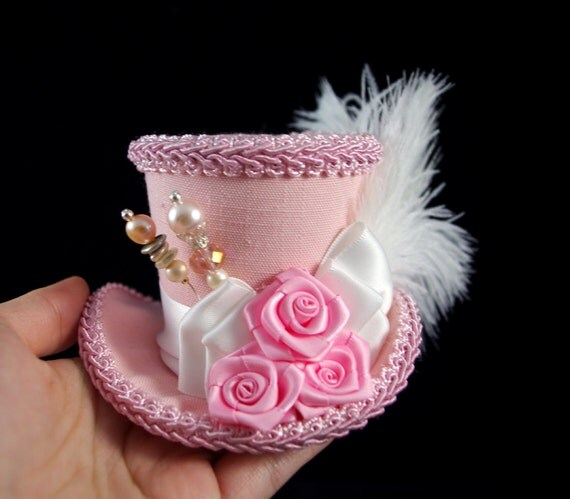 Pink and White Rose Small Mini Top Hat Fascinator, Alice in Wonderland, Mad Hatter Tea Party, Derby Hat