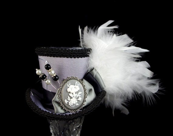Silver, Black, and White Flower Cameo Medium Mini Top Hat Fascinator, Alice in Wonderland, Mad Hatter Tea Party, Derby Hat
