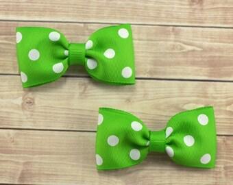 Lime Green Bows, Green Hair Bows, Light Green Bows, Apple Green Bows, Pigtail Hair Bows, Green Clips, Tuxedo Hair Bows, Green Polka Dot Bows