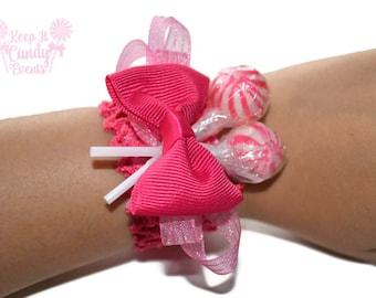 Hot Pink Lollipop Wrist Corsage, Fuchsia Prom Corsage, Wedding Corsage, Pink Wedding Ideas, Quinceañera Accessories, Sweet Sixteen Candy