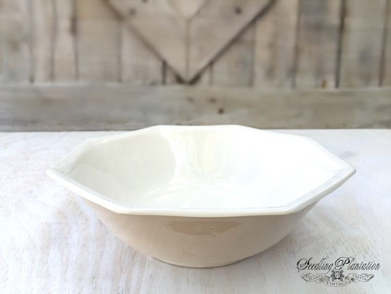 Vintage White Ironstone Bowl-White Bowls, Ironstone Serving Bowl, Whiteware, White Dishes-French Country Shabby Chic Farmhouse