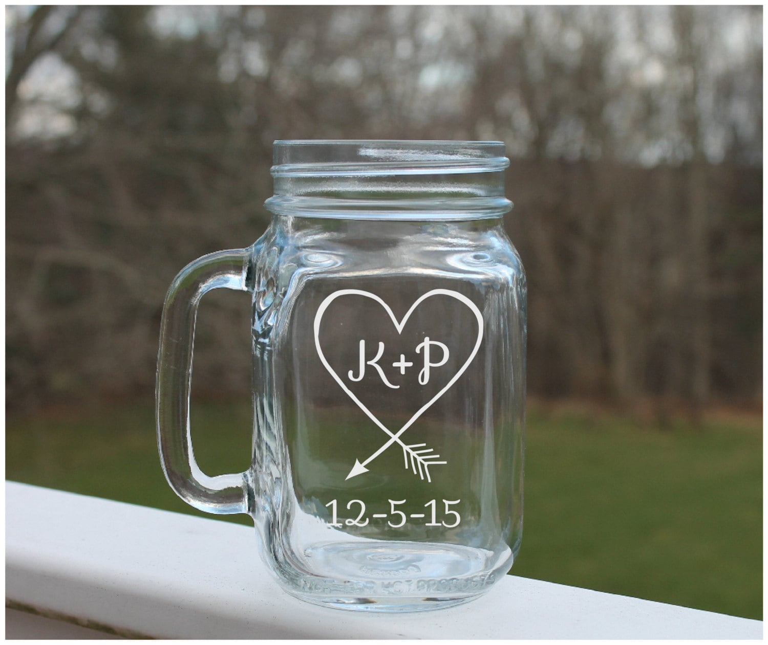 Mason Jar Ideas For Weddings: Etched Mason Jar Mason Jar Wedding Heart Arrow Mason Jars