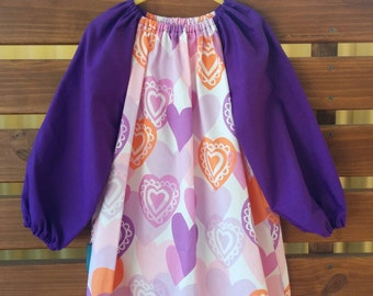 Kids Long Sleeve Art Smock - Size 3-4. Love Hearts.