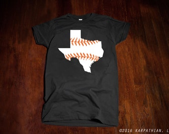Texas baseball Ladies junior fit t-shirt grey shirt orange and white print