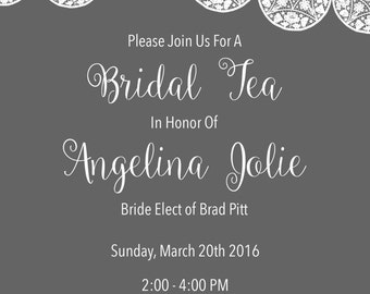 Classic Gray and White Lace Bridal Shower Invitation