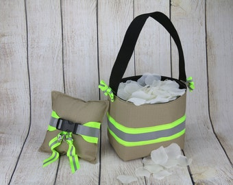 Firefighter Wedding Ring Pillow and Flower Girl Basket looks like turnout bunker gear with reflective