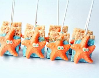 Starfish Cookies Under the Sea Party Under the Sea Birthday Baby Shower Starfish Chocolate Rice Krispie Treat Ocean Beach Wedding Favor Idea